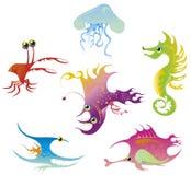 Ocean fishes. An illustration of six stylized marine animals. Vector illustration Stock Image