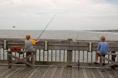 Ocean Fishing Pier Twins Royalty Free Stock Photos