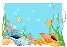 Ocean Floor. Vector Illustration of an ocean floor, with shells and fish and coral Stock Images