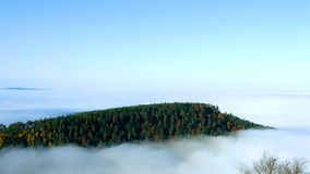 Ocean of fog movement under the camera. Great overcast over Alsace. Panoramic view from top of the mountain. stock video