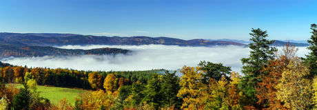 Ocean of fog movement under the camera. Great overcast over Alsace. Panoramic view from top of the mountain. Royalty Free Stock Photos