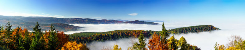 Ocean of fog movement under the camera. Great overcast over Alsace. Panoramic view from top of the mountain. Royalty Free Stock Photography