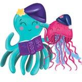 Ocean friends cartoon illustration. Ocean fauna cartoon in cartoon style
