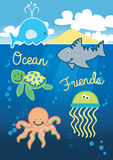 Ocean friends. Vector illustration of some cute underwater creatures Royalty Free Stock Photos