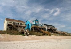 Ocean front beach houses. A row of colorful ocean front beach houses royalty free stock image