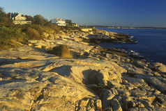 Ocean front home on Scenic route 1 at sunset, Misquamicut, RI Royalty Free Stock Photo