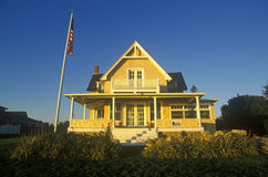 Ocean front home on Scenic route 1 at sunset, Misquamicut, RI Royalty Free Stock Image