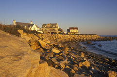 Ocean front home on Scenic route 1 at sunset, Misquamicut, RI Royalty Free Stock Images
