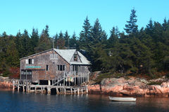 Ocean front house in Maine Royalty Free Stock Photo