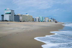 Ocean Front in Virginia Beach, Virginia during a Warm Fall Day.  royalty free stock image