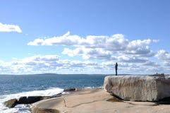 Ocean, Girl and Sky Stock Photo