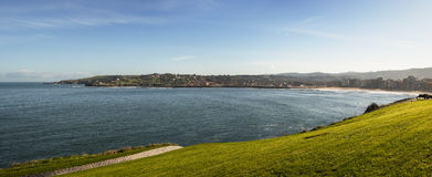 Ocean and Grass  Pan View of Gijon Royalty Free Stock Photo