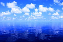 Ocean Horizon. Half view of ocean horizon and cloudy skies stock photo