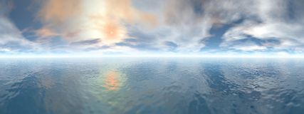 Ocean horizon - 3D render Royalty Free Stock Photos