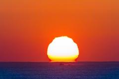 Ocean Horizon Sunrise Landscape. Ocean horizon sunrise shimmering light colors of new day Royalty Free Stock Image