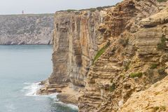 Ocean i falezy w Cabo De Sao Vincente Fotografia Stock