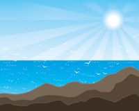Ocean i góra Zdjęcia Stock