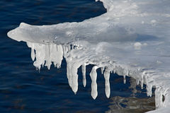 Ocean in ice. The winter ocean An ice-hole in the frozen ocean with a rough stream Royalty Free Stock Photography