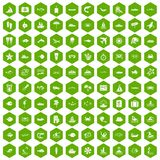 100 ocean icons hexagon green. 100 ocean icons set in green hexagon isolated vector illustration Royalty Free Stock Photography