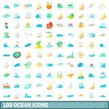 100 ocean icons set, cartoon style Stock Photography