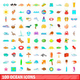 100 ocean icons set, cartoon style Royalty Free Stock Image
