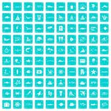 100 ocean icons set grunge blue. 100 ocean icons set in grunge style blue color isolated on white background vector illustration Royalty Free Stock Image