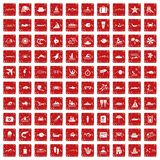 100 ocean icons set grunge red. 100 ocean icons set in grunge style red color isolated on white background vector illustration Royalty Free Stock Photos