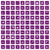 100 ocean icons set grunge purple Stock Photo