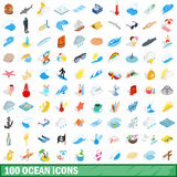 100 ocean icons set, isometric 3d style Stock Photos