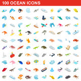 100 ocean icons set, isometric 3d style Stock Photography