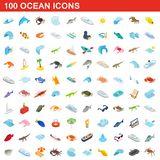 100 ocean icons set, isometric 3d style. 100 ocean icons set in isometric 3d style for any design illustration royalty free illustration