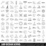100 ocean icons set, outline style. 100 ocean set in outline style for any design illustration stock illustration
