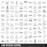 100 ocean icons set, outline style Royalty Free Stock Photography