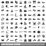 100 ocean icons set, simple style. 100 ocean icons set in simple style for any design illustration royalty free illustration