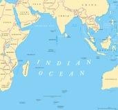 Ocean Indyjski polityczna mapa ilustracja wektor