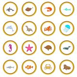 Ocean inhabitants icons circle. Gold in cartoon style isolate on white background vector illustration Stock Photography