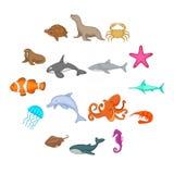 Ocean inhabitants icons set, cartoon style. Ocean inhabitants icons set. Cartoon illustration of 16 ocean inhabitants vector icons for web Stock Photography