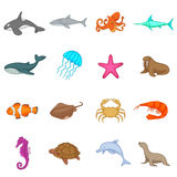 Ocean inhabitants icons set, cartoon style Royalty Free Stock Images