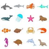 Ocean inhabitants icons set, cartoon style. Ocean inhabitants icons set. Cartoon illustration of 16 ocean inhabitants vector icons for web Royalty Free Stock Images