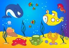 Ocean inhabitants and submarine. jellyfish, starfish, sea-horse, Royalty Free Stock Photos