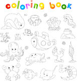 Ocean inhabitants and submarine. Octopus, jellyfish, starfish, s. Ea-horse, reefs, crab, shrimp, fish angler and corals in the ocean. Coloring book for kids Royalty Free Stock Photos