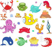 Ocean inhabitants and submarine. Octopus, jellyfish, starfish, s Royalty Free Stock Image