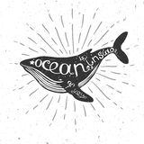 Ocean is inside of you poster with whale. Vector illustration with whale, nautical illustration with hand drawn lettering, vector whale silhouette Stock Images