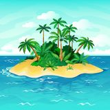 Ocean island cartoon. Palm trees sea uninhabited islands sky sand beach sun panorama view solitude tropical nature stock illustration