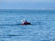 Ocean Kayak. Paddling a kayak across English Bay on the Pacific Ocean Royalty Free Stock Photo