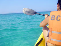 Ocean Kayaking. Kayaker on open water in the Gulf of Mexico stock photos