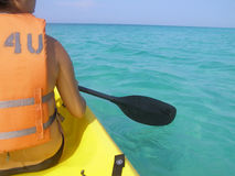 Ocean Kayaking. Kayaker on open water in the Gulf of Mexico Royalty Free Stock Photo
