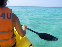 Ocean Kayaking. Kayaker on open water in the Gulf of Mexico royalty free stock images