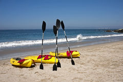 Ocean Kayaks Beach Surf Royalty Free Stock Image