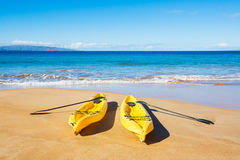 Ocean Kayaks on Sunny Beach Royalty Free Stock Photo